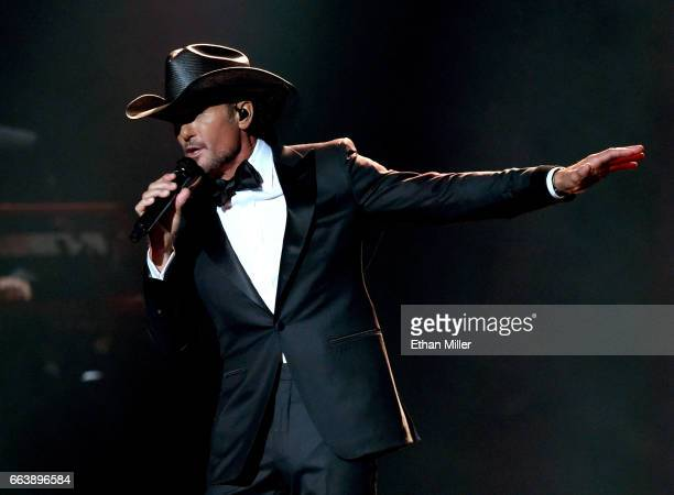 Recording artist Tim McGraw performs onstage during the 52nd Academy of Country Music Awards at TMobile Arena on April 2 2017 in Las Vegas Nevada