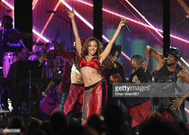Recording artist Tinashe performs onstage during the 2014 Soul Train Music Awards at the Orleans Arena on November 7 2014 in Las Vegas Nevada