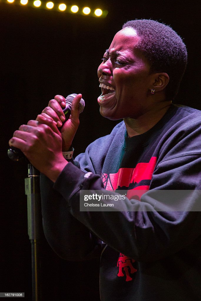 Recording artist Tish Hyman performs at the 'Love, Life & Reality' show at Federal Bar on February 26, 2013 in Hollywood, California.