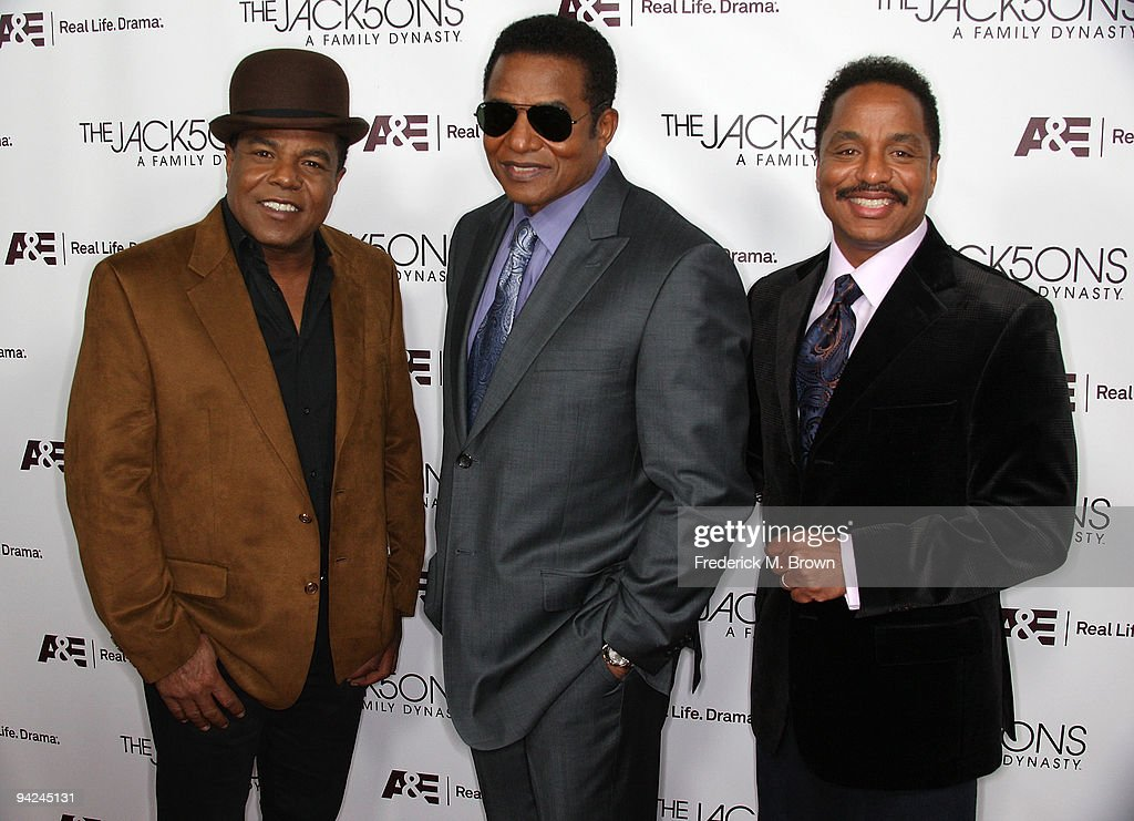 Recording artist Tito Jackson, Jackie Jackson and Marlon Jackson attend the premiere of A & E Network's 'The Jacksons: A Family Dynasty' at Boulevard 3 on December 9, 2009 in Los Angeles, California.
