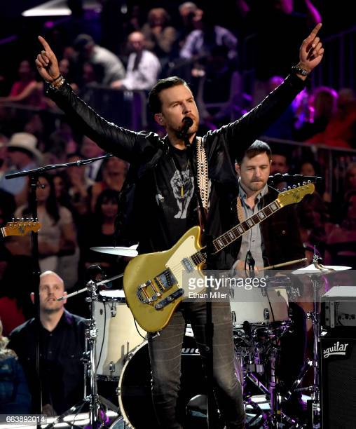 Recording artist TJ Osborne of music group Brothers Osborne performs onstage during the 52nd Academy of Country Music Awards at TMobile Arena on...