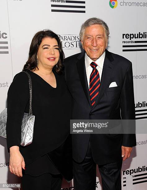 Recording artist Tony Bennett and Executive Vice President Universal Music Group Michelle Anthony attend the Republic Records Grammy Celebration...