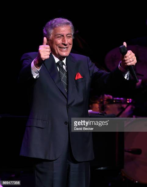 Recording artist Tony Bennett performs as he debuts his limited engagement 'TONY The Best Is Yet To Come' at the Encore Theater at Wynn Las Vegas on...