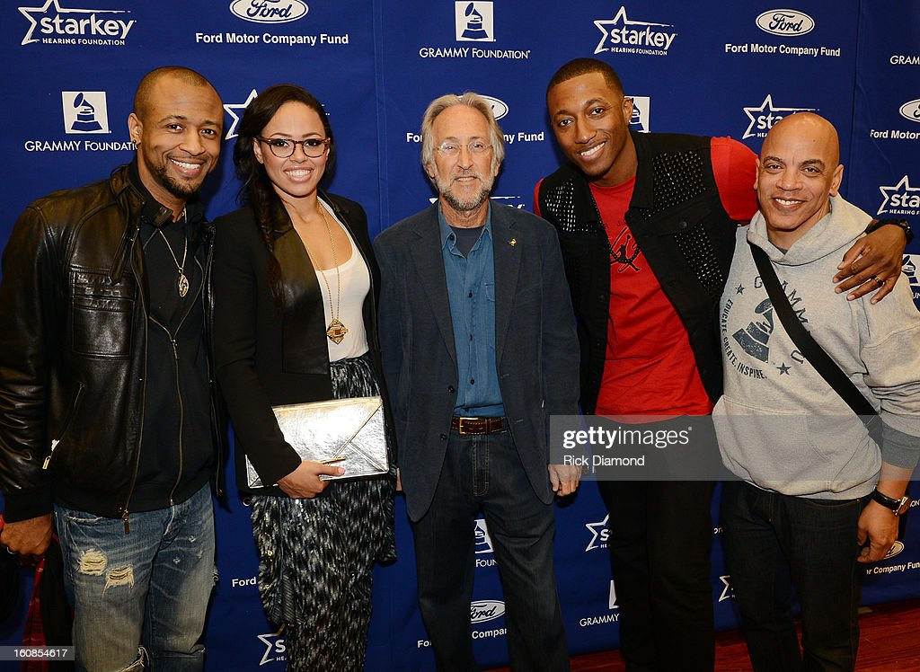 Recording artist Tony Rich, singer Elle Varner, President/CEO of The Recording Academy Neil Portnow, Musician Lecrae, and producer Rickey Minor attend GRAMMY Camp Basic Training on February 6, 2013 in Los Angeles, California.