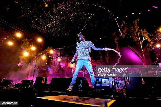 Recording artist Travis Scott performs at the Outdoor Stage during day 1 of the Coachella Valley Music And Arts Festival at the Empire Polo Club on...