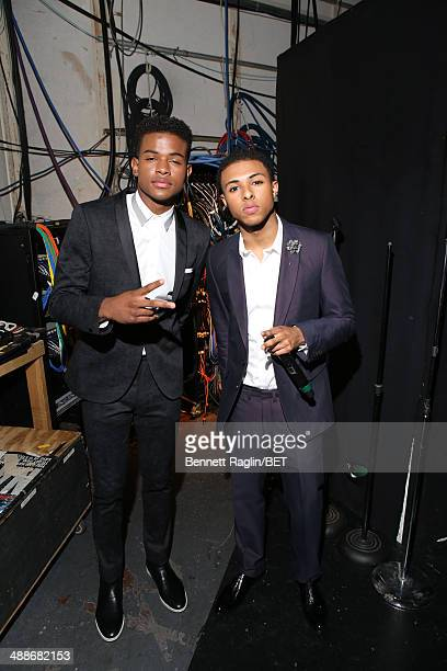 Recording artist Trevor Jackson and Diggy Simmons visit 106 Park at BET studio on May 7 2014 in New York City