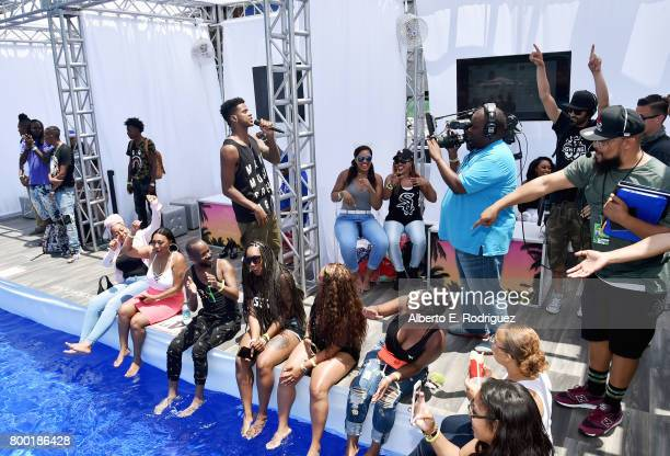Recording artist Trevor Jackson speaks at day one of the Pool Groove sponsored by McDonald's during the 2017 BET Experience at Gilbert Lindsey Plaza...
