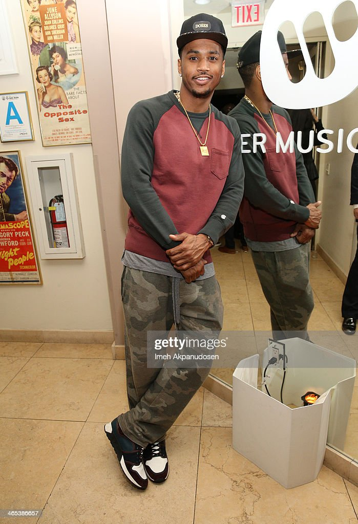 Recording artist <a gi-track='captionPersonalityLinkClicked' href=/galleries/search?phrase=Trey+Songz&family=editorial&specificpeople=674835 ng-click='$event.stopPropagation()'>Trey Songz</a> attends the Warner Music Group annual GRAMMY celebration on January 26, 2014 in Los Angeles, California.