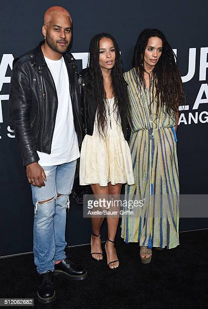 Recording artist Twin Shadow actors Zoe Kravitz and Lisa Bonet arrive at SAINT LAURENT At The Palladium at Hollywood Palladium on February 10 2016 in...
