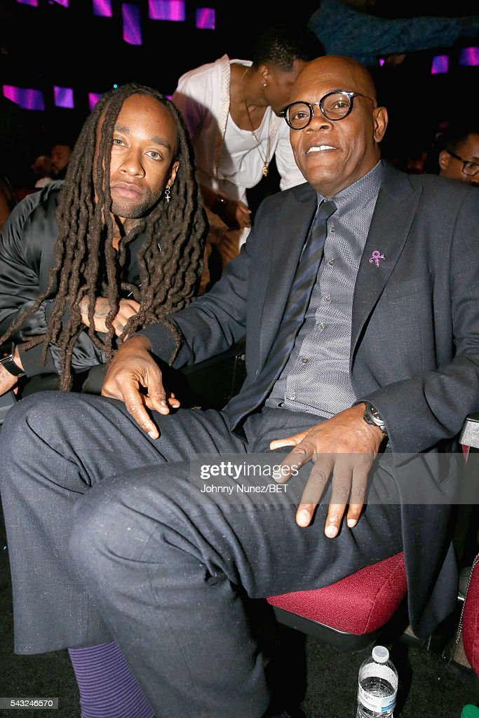 Recording artist Ty Dolla $ign (L) and honoree <a gi-track='captionPersonalityLinkClicked' href=/galleries/search?phrase=Samuel+L.+Jackson&family=editorial&specificpeople=167234 ng-click='$event.stopPropagation()'>Samuel L. Jackson</a> attend the 2016 BET Awards at the Microsoft Theater on June 26, 2016 in Los Angeles, California.