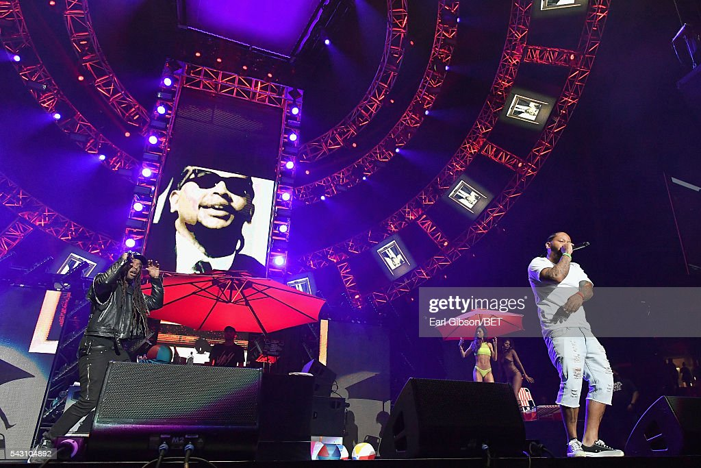 Recording artist Ty Dolla $ign (L) performs onstage with guest performer TeeCee4800 during the 2016 BET Experience at Staples Center on June 25, 2016 in Los Angeles, California.