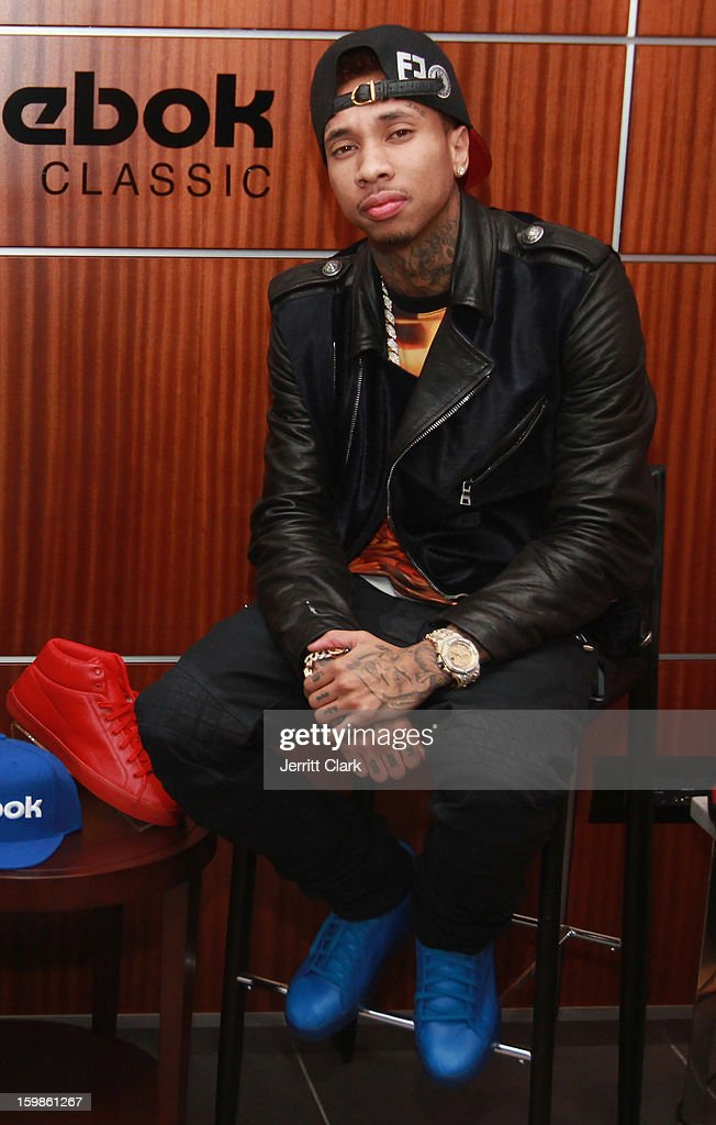 Recording Artist Tyga visits the Reebok Suite during the Brooklyn Nets vs. New York Knicks game at Madison Square Garden on January 21, 2013 in New York City.