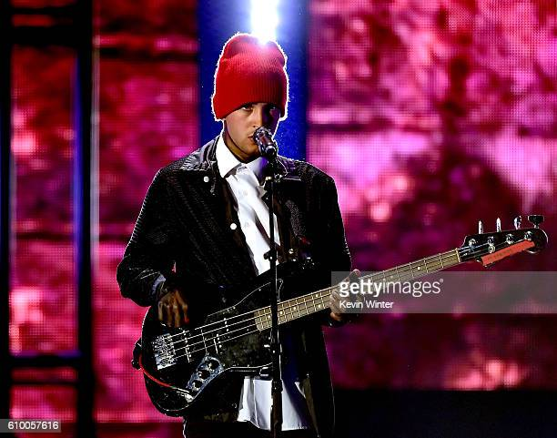 Recording artist Tyler Joseph of music group Twenty One Pilots performs onstage at the 2016 iHeartRadio Music Festival at TMobile Arena on September...
