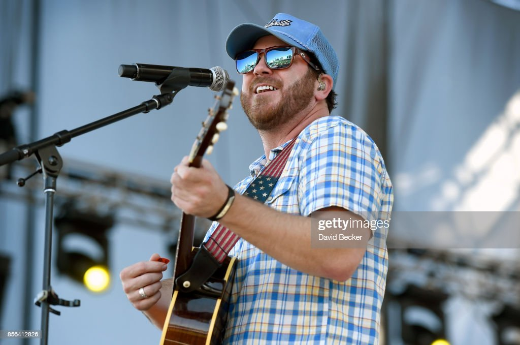 Recording artist Tyler Reeve performs during the Route 91 Harvest country music festival at the Las Vegas Village on October 1, 2017 in Las Vegas, Nevada.