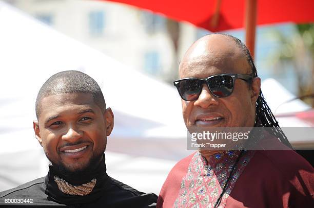 Recording artist Usher and guest recording artist Stevie Wonder attend ceremony that honored him with a Star on the Hollywood Walk of Fame on...