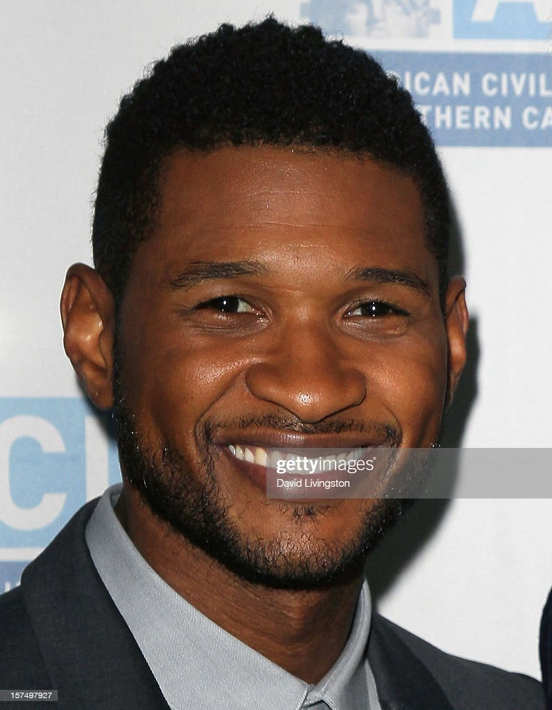 Recording artist <a gi-track='captionPersonalityLinkClicked' href=/galleries/search?phrase=Usher+-+Singer&family=editorial&specificpeople=201477 ng-click='$event.stopPropagation()'>Usher</a> attends the ACLU of Southern California's 2012 Bill of Rights Dinner at the Beverly Wilshire Four Seasons Hotel on December 3, 2012 in Beverly Hills, California.