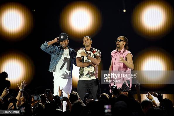 Recording artists Usher Ludacris and Lil Jon perform onstage at the 2016 iHeartRadio Music Festival at TMobile Arena on September 24 2016 in Las...