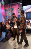 Recording artist Usher visits BET's '106 Park' with host Shorty da Prince at BET Studios on December 5 in New York City