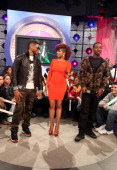 Recording artist Usher visits BET's '106 Park' with hosts Ms Mykie and Shorty da Prince at BET Studios on December 5 in New York City