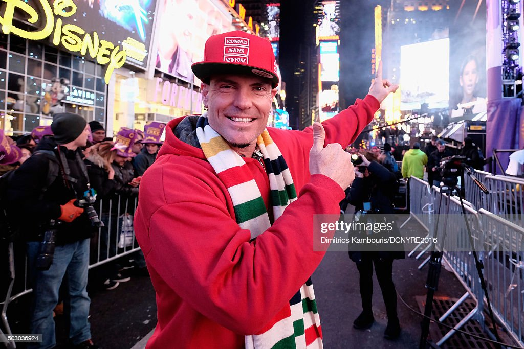 Recording Artist <a gi-track='captionPersonalityLinkClicked' href=/galleries/search?phrase=Vanilla+Ice&family=editorial&specificpeople=228351 ng-click='$event.stopPropagation()'>Vanilla Ice</a> poses at the Dick Clark's New Year's Rockin' Eve with Ryan Seacrest 2016 on December 31, 2015 in New York City.
