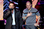 Recording artist Vicentico recording artist Rene Perez Joglar aka Residente of music group Calle 13 perform onstage during the 2014 Person of the...