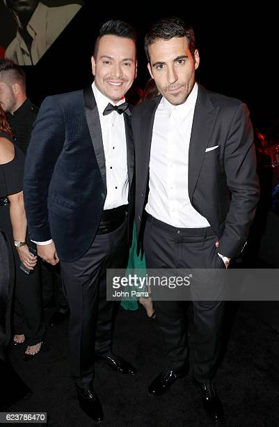 Recording artist Victor Manuelle and actor Miguel Angel Silvestre attend the 2016 Person of the Year honoring Marc Anthony at the MGM Grand Garden...