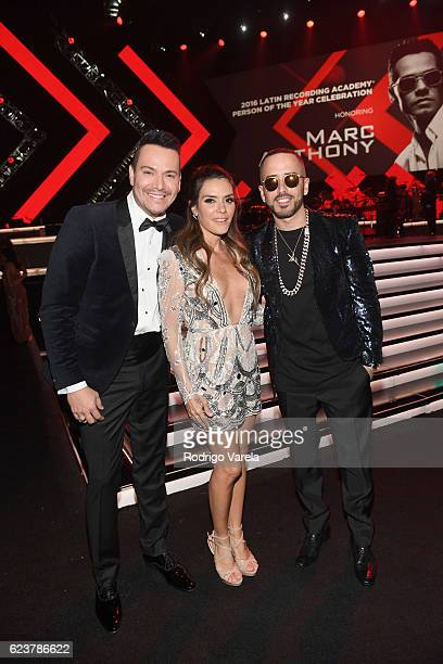Recording artist Victor Manuelle singer Kany Garcia and musician Yandel attend the 2016 Person of the Year honoring Marc Anthony at the MGM Grand...
