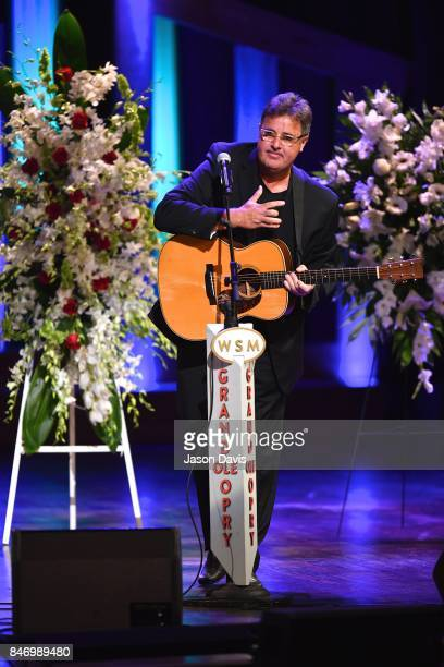 Recording Artist Vince Gill reflects on his friend Troy Gentry during his performance at the Celebration of Life For Troy Gentry at Grand Ole Opry...