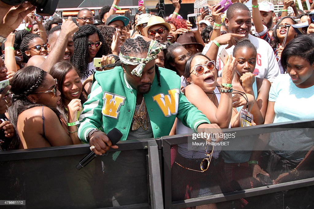 Recording artist Wale performs onstage during 106 Park with ESPN cross promotion Sports Center during the 2015 BET Experience at Nokia Plaza on June...