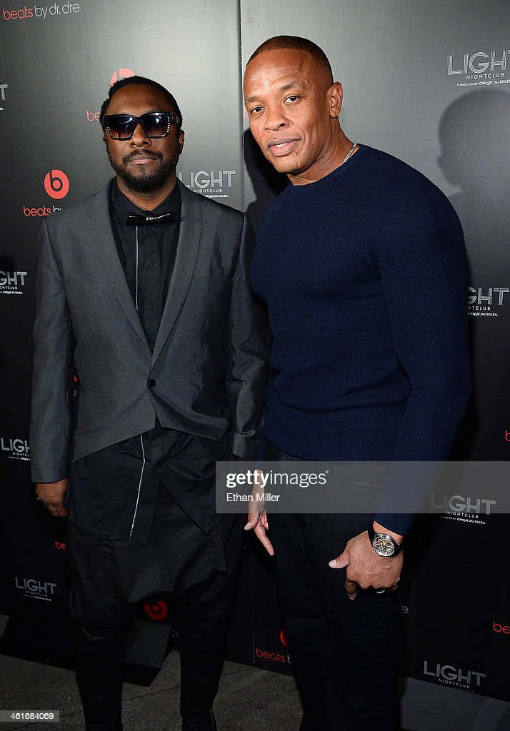 Recording artist will.i.am (L) and Beats Electronics Founder <a gi-track='captionPersonalityLinkClicked' href=/galleries/search?phrase=Dr.+Dre&family=editorial&specificpeople=211370 ng-click='$event.stopPropagation()'>Dr. Dre</a> arrive at a Beats by <a gi-track='captionPersonalityLinkClicked' href=/galleries/search?phrase=Dr.+Dre&family=editorial&specificpeople=211370 ng-click='$event.stopPropagation()'>Dr. Dre</a> CES after party at the Light Nightclub at the Mandalay Bay Resort and Casino on January 9, 2014 in Las Vegas, Nevada.