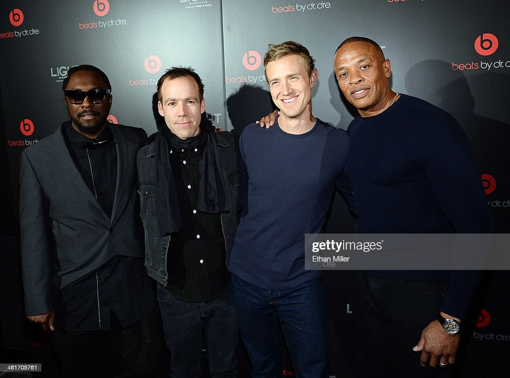 Recording artist will.i.am, Beats Electronics President Luke Wood, Beats Music CEO Ian Rogers and Beats Electronics Founder <a gi-track='captionPersonalityLinkClicked' href=/galleries/search?phrase=Dr.+Dre&family=editorial&specificpeople=211370 ng-click='$event.stopPropagation()'>Dr. Dre</a> arrive at a Beats by <a gi-track='captionPersonalityLinkClicked' href=/galleries/search?phrase=Dr.+Dre&family=editorial&specificpeople=211370 ng-click='$event.stopPropagation()'>Dr. Dre</a> CES after party at the Light Nightclub at the Mandalay Bay Resort and Casino on January 9, 2014 in Las Vegas, Nevada.