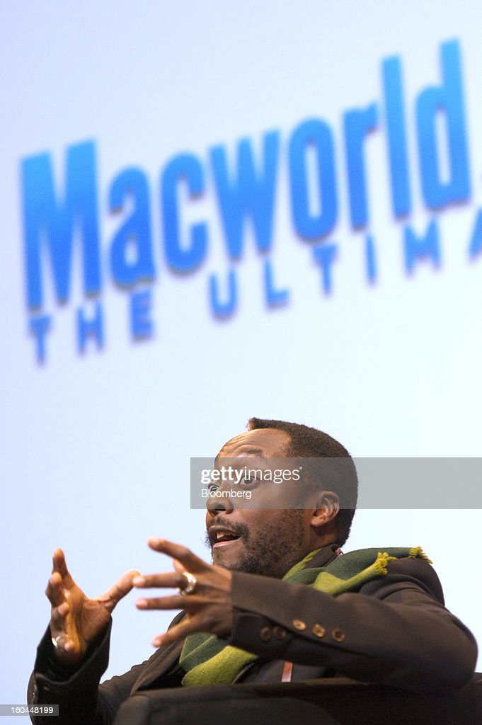 Recording artist Will.i.am speaks at the Macworld/iWorld conference at the Moscone Center West in San Francisco, California, U.S., on Thursday, Jan. 31, 2013. This year's conference, titled 'The Ultimate iFANEvent,' brings together attendees to celebrate Apple Inc. technology and learn more about products and services for Apple users. Photographer: David Paul Morris/Bloomberg via Getty Images