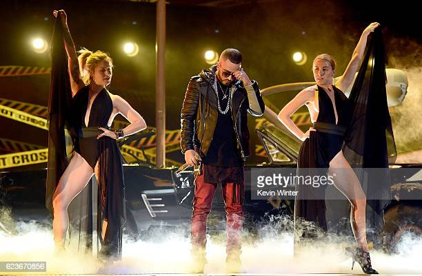 Recording artist Yandel performs onstage during rehearsals for the 17th annual Latin Grammy Awards at TMobile Arena on November 16 2016 in Las Vegas...