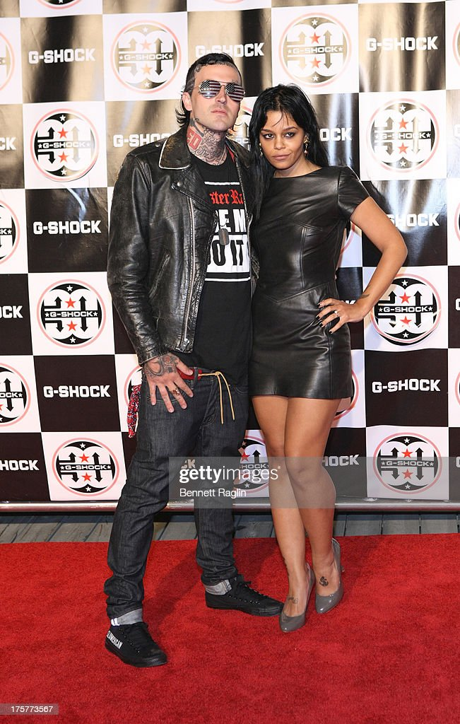 Recording artist <a gi-track='captionPersonalityLinkClicked' href=/galleries/search?phrase=Yelawolf&family=editorial&specificpeople=2283802 ng-click='$event.stopPropagation()'>Yelawolf</a> (L) attends G-Shock - Shock The World 2013 at Basketball City - Pier 36 - South Street on August 7, 2013 in New York City.