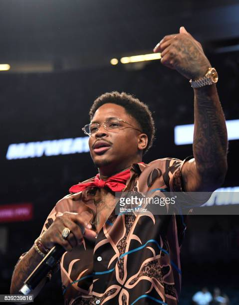 Recording artist YG performs before the official weighin for boxer Floyd Mayweather Jr and UFC lightweight champion Conor McGregor on August 25 2017...