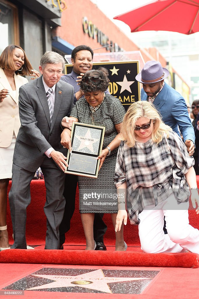 Recording artist <a gi-track='captionPersonalityLinkClicked' href=/galleries/search?phrase=Yolanda+Adams&family=editorial&specificpeople=206858 ng-click='$event.stopPropagation()'>Yolanda Adams</a>, President/CEO of the Hollywood Chamber of Commerce <a gi-track='captionPersonalityLinkClicked' href=/galleries/search?phrase=Leron+Gubler&family=editorial&specificpeople=692259 ng-click='$event.stopPropagation()'>Leron Gubler</a>, recording artist <a gi-track='captionPersonalityLinkClicked' href=/galleries/search?phrase=Shirley+Caesar&family=editorial&specificpeople=828879 ng-click='$event.stopPropagation()'>Shirley Caesar</a> (C) , and recording artist <a gi-track='captionPersonalityLinkClicked' href=/galleries/search?phrase=Kirk+Franklin&family=editorial&specificpeople=779291 ng-click='$event.stopPropagation()'>Kirk Franklin</a> (R) attend a ceremony honoring <a gi-track='captionPersonalityLinkClicked' href=/galleries/search?phrase=Shirley+Caesar&family=editorial&specificpeople=828879 ng-click='$event.stopPropagation()'>Shirley Caesar</a> with a Star on The Hollywood Walk of Fame on June 28, 2016 in Hollywood, California.