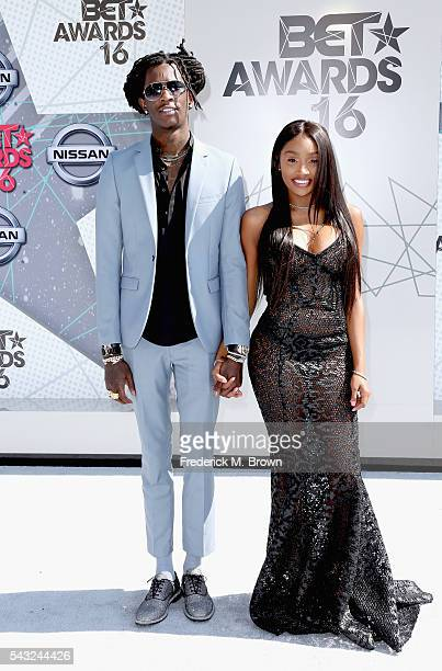 Recording artist Young Thug and Jerrika Karlae attends the 2016 BET Awards at the Microsoft Theater on June 26 2016 in Los Angeles California