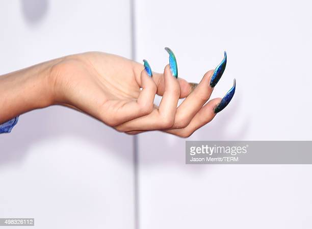 Recording artist Z LaLa fashion detail attends the 2015 American Music Awards at Microsoft Theater on November 22 2015 in Los Angeles California