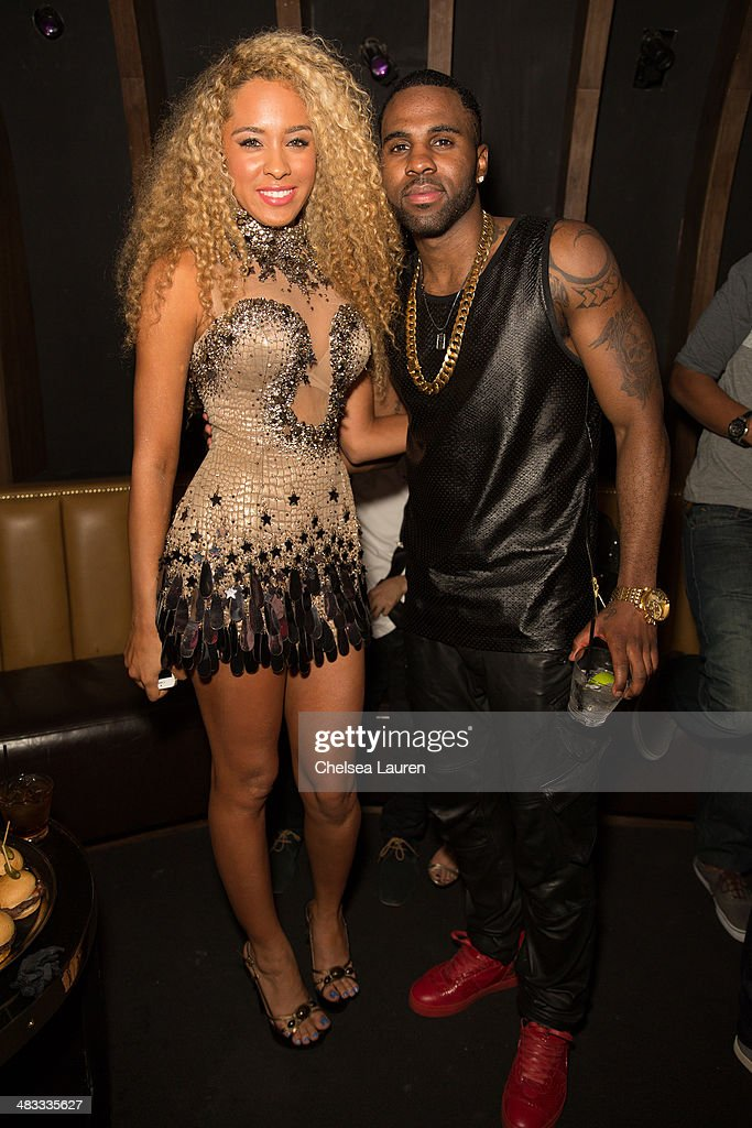 Recording artist Zhavea (L) and singer <a gi-track='captionPersonalityLinkClicked' href=/galleries/search?phrase=Jason+Derulo&family=editorial&specificpeople=5745869 ng-click='$event.stopPropagation()'>Jason Derulo</a> attend the listening party for <a gi-track='captionPersonalityLinkClicked' href=/galleries/search?phrase=Jason+Derulo&family=editorial&specificpeople=5745869 ng-click='$event.stopPropagation()'>Jason Derulo</a>'s new album 'Talk Dirty' at 1OAK on April 7, 2014 in West Hollywood, California.