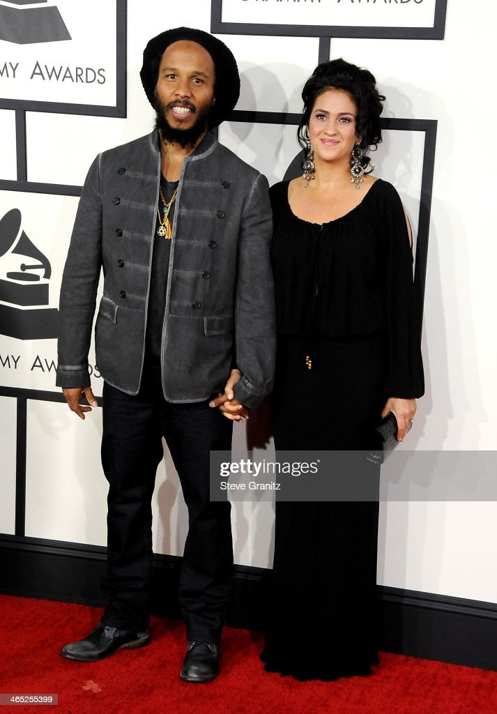Recording artist Ziggy Marley and Orly Agai attend the 56th GRAMMY Awards at Staples Center on January 26 2014 in Los Angeles California