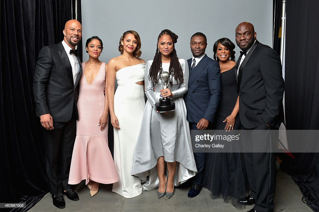 Recording artist/actor <a gi-track='captionPersonalityLinkClicked' href=/galleries/search?phrase=Common+-+Rapper&family=editorial&specificpeople=4124329 ng-click='$event.stopPropagation()'>Common</a>, actress <a gi-track='captionPersonalityLinkClicked' href=/galleries/search?phrase=Tessa+Thompson&family=editorial&specificpeople=808125 ng-click='$event.stopPropagation()'>Tessa Thompson</a>, actress <a gi-track='captionPersonalityLinkClicked' href=/galleries/search?phrase=Carmen+Ejogo&family=editorial&specificpeople=663806 ng-click='$event.stopPropagation()'>Carmen Ejogo</a>, director/producer <a gi-track='captionPersonalityLinkClicked' href=/galleries/search?phrase=Ava+DuVernay&family=editorial&specificpeople=7197952 ng-click='$event.stopPropagation()'>Ava DuVernay</a> (holding the Outstanding Motion Picture award), actor <a gi-track='captionPersonalityLinkClicked' href=/galleries/search?phrase=David+Oyelowo&family=editorial&specificpeople=633075 ng-click='$event.stopPropagation()'>David Oyelowo</a>, actress <a gi-track='captionPersonalityLinkClicked' href=/galleries/search?phrase=Niecy+Nash&family=editorial&specificpeople=228464 ng-click='$event.stopPropagation()'>Niecy Nash</a> and actor <a gi-track='captionPersonalityLinkClicked' href=/galleries/search?phrase=Omar+J.+Dorsey&family=editorial&specificpeople=4029296 ng-click='$event.stopPropagation()'>Omar J. Dorsey</a> pose in the portrait studio during the 46th NAACP Image Awards presented by TV One at Pasadena Civic Auditorium on February 6, 2015 in Pasadena, California.