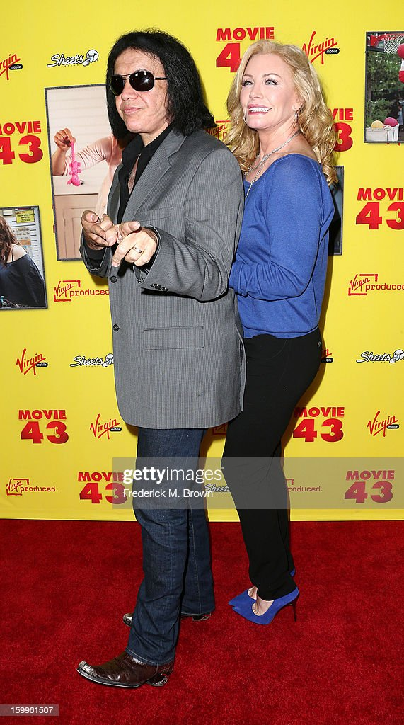 Recording artist/actor Gene Simmons and actress Shannon Tweed attend the Premiere Of Relativity Media's 'Movie 43' at the TCL Chinese Theatre on...