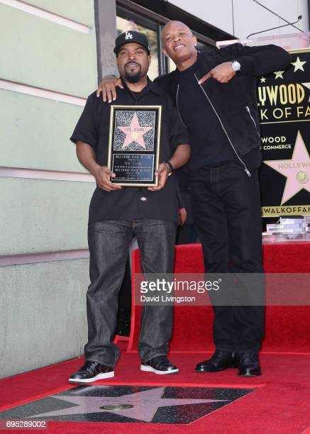 Recording artist/actor Ice Cube and record producer Dr Dre attend Ice Cube being honored with a Star on the Hollywood Walk of Fame on June 12 2017 in...