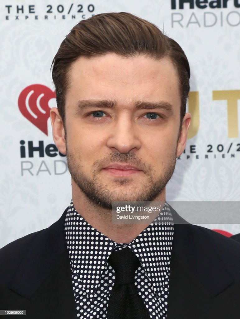 Recording artist/actor <a gi-track='captionPersonalityLinkClicked' href=/galleries/search?phrase=Justin+Timberlake&family=editorial&specificpeople=157482 ng-click='$event.stopPropagation()'>Justin Timberlake</a> poses at the iHeartRadio '20/20' album release party with <a gi-track='captionPersonalityLinkClicked' href=/galleries/search?phrase=Justin+Timberlake&family=editorial&specificpeople=157482 ng-click='$event.stopPropagation()'>Justin Timberlake</a> presented by Target at the El Rey Theatre on March 18, 2013 in Los Angeles, California.
