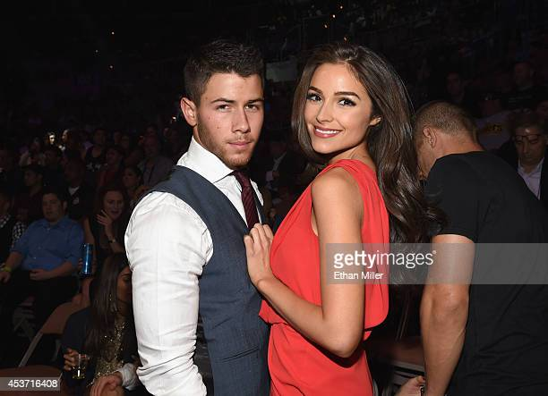 Recording artist/actor Nick Jonas and Miss Universe 2012 Olivia Culpo attend the inaugural event for BKB Big Knockout Boxing at the Mandalay Bay...