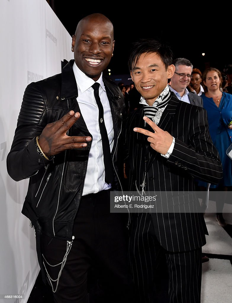 Recording artist/actor Tyrese Gibson (L) and director James Wan attend Universal Pictures' 'Furious 7' premiere at TCL Chinese Theatre on April 1, 2015 in Hollywood, California.