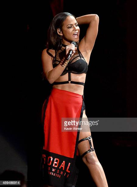 Recording artist/actress Christina Milian performs onstage at the 2014 American Music Awards at Nokia Theatre LA Live on November 23 2014 in Los...