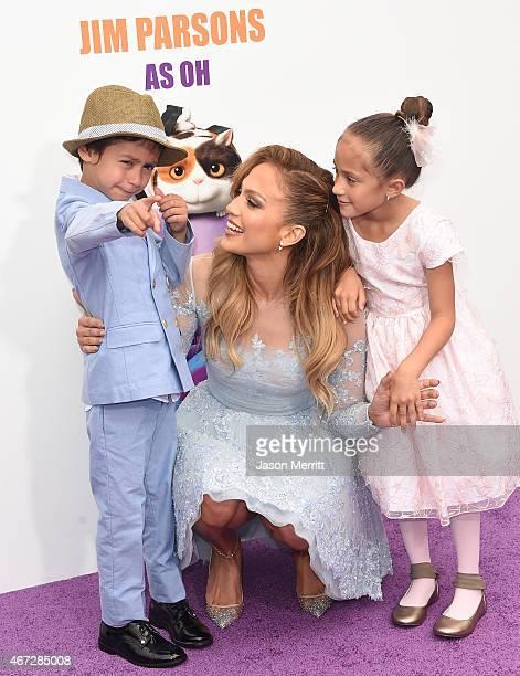 Recording Artist/actress Jennifer Lopez and son Maximilian David Muniz and daughter Emme Maribel Muniz arrive at Twentieth Century Fox And Dreamworks...