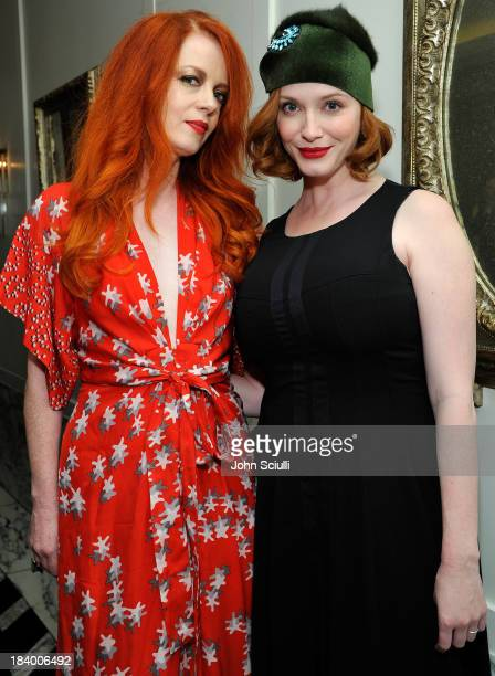 Recording Artist/Actress Shirley Manson and Actress Christina Hendricks attend a Tracy Paul dinner for Uno de 50 at Cecconi's Restaurant on October...
