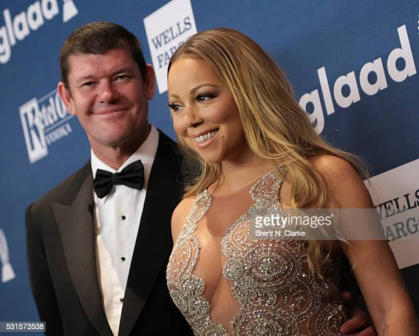 Recording artist/Ally Award recipient Mariah Carey and businessman James Packer attend the 27th Annual GLAAD Media Awards held at The Waldorf=Astoria...